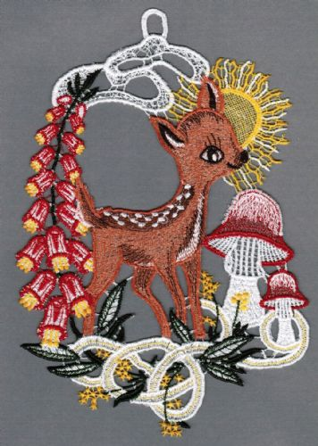 Embroidered Lace Spring Fawn Window Picture
